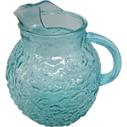 "Vintage Anchor Hocking Teal Glass Pitcher - 9"" Tall"