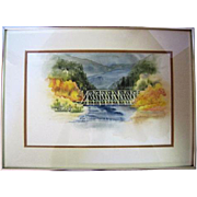 """Watercolor """"Bridge on The Anthracite River near Erickson's Springs"""" by Kathleen Hawkins"""