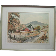 "Watercolor ""Farm with Horses"" by Frank Serratoni"