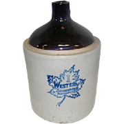 Western Stoneware Monmouth One Gallon Crock Jug - Maple Leaf