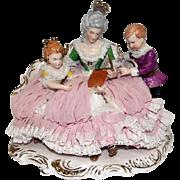 "Wilhelm Rittirsch - Dresden Art - Lace Figural Grouping Lady Reading To Children - 7 1/2"" Tall"