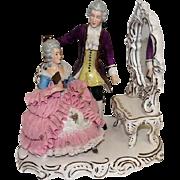 "Wilhelm Rittirsch - Dresden Art - Lace Figural Grouping Man & Lady w/Vanity - 9 1/4"" Tall"