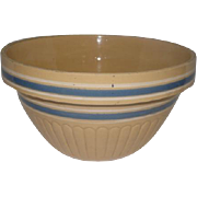 "Yelloware Mixing Bowl w/Feather Design Blue & White Stripes - 11 1/2"" Diameter"