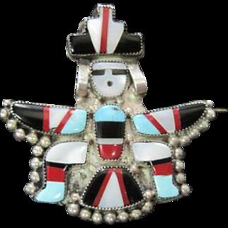 Zuni Eagle Dancer Pin/Brooch C. 1940