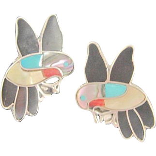 Zuni Inlaid Hummingbirds Clip on Sterling Earrings Signed Ella Pia