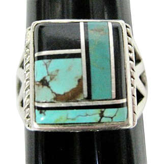Zuni Inlaid Sterling Ring - Size 12