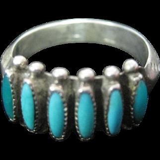 Zuni Sterling Needlepoint Pattern Ring - Signed Paloma - Size 6.75