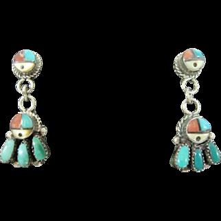 Zuni Stud Dangle Earrings - Marked: ZUNIE