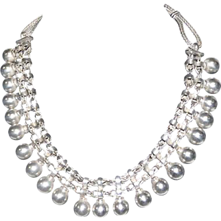"Beautiful Heavy Silver Pierced Rope/Ball Choker Necklace - 16 1/2"" Long"