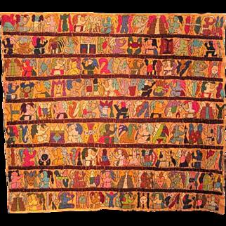 "Ceremonial Modern Aztec Style Storyteller Rug/Tapestry - 37 1/8"" W 33 7/8"" H"