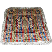 """Lot #12A - Morocco - Italy Embroidered Silk Tapestry Rug - 4-Sided Fringe 51"""" x 51"""""""