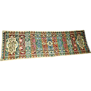 "Lot #13A - Morocco - Italy Embroidered Silk Tapestry - 47 1/2"" x 15"""
