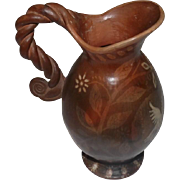 """Handmade Peruvian Pottery Vase w/Hand Painted Doves/Flowers - 8 1/2"""" Tall"""