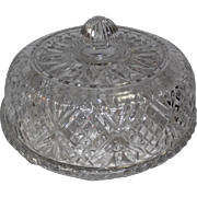 "Beautiful Pressed Crystal Patterned Cake Platter & Lid - 7"" Tall"