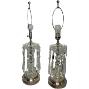 """Pair of Early 1900's Art Noveau Cut Crystal Table Lamps - 33 1/2"""" Tall"""