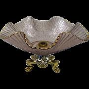 "1940's Amethyst Pierced Ruffle Glass Bowl w/Metal Claw Foot Base - 9 5/8"" Diameter"