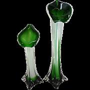 "Pair of Beautiful Floral Petal Vases - 15 3/4"" Tall"