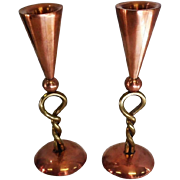 "Pair of Copper & Brass Twisted Candleholders - 7 1/4"" Tall"