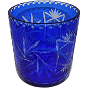 "Cut Glass Ice Bucket Brilliant Blue - Czechoslovakia - 6 5/8"" Tall"