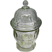 "Vintage Pressed Glass Footed Candy Dish w/Lid - 9 3/4"" Tall"