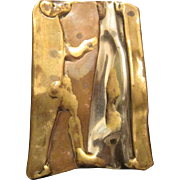 """Abstract Metal - Brass/Copper Pendant - 2"""" x 1 3/8"""""""