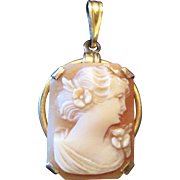 AMCO 10K Yellow Gold Shell Cameo Pendant - Marked 1/20 10K