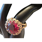 1930's Germany - Red Glass Stone Ring - Adjustable