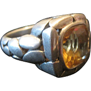 Sterling Art Deco Ring w/Citrine Center Stone - Size 6.75