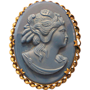 """Twisted Edge Designed Blue Celluloid Cameo Broach Pin - 2"""" x 1 1/2"""""""