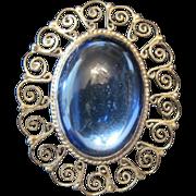 J.E. Sterling Broach Pin w/Large Blue Art Glass Stone & Pierced Scroll Design