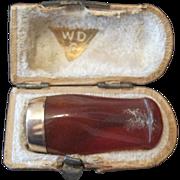 WDC Brown Bakelite Smoking Pipe Stem Mouth Piece w/14K Gold Band