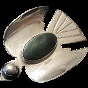 1930's Silver Made in Mexico Thunderbird Broach Pin w/Green Almandine Stone
