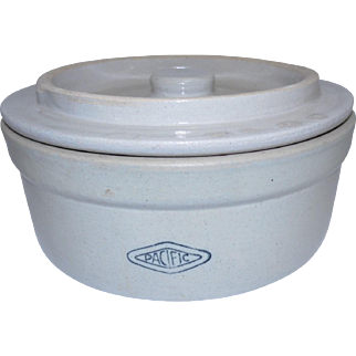 """Pacific #2 Cheese/Butter Stoneware Crock w/ Lid - 9 3/4"""""""