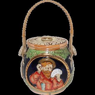 KTW Co German Stoneware Pot w/Lid & Wicker Handle
