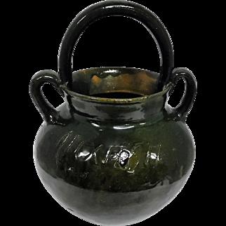 """Oaxaca Mexico 1930's Pottery Handled Pot - 10 1/2"""" Tall"""