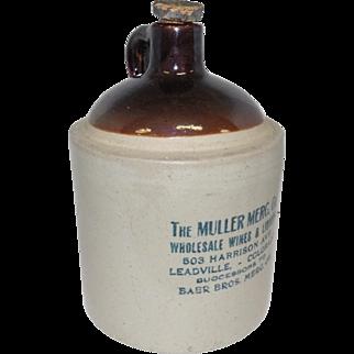 "The Muller Merc. Co. Whiskey Crock w/Cork - Leadville, Co - 10 1/2"" Tall"