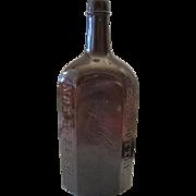 """Schutzen Str No9 J.A. Gilk A. Berlin 8-Sided Amber Bottle - 10"""" Tall"""