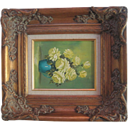 Original Oil Painting on Canvas feat. Vase of Roses/Still Life - L. Roma