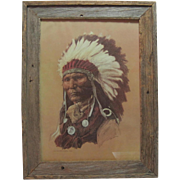 "Framed 1976 Lithograph in Colour - Hans P. Luetcke - ""Louis - Son of Chief Sitting Bull - Sioux"""