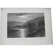 Tintern Abbey-Moonlight on Thwye - B. W. Leader Lithograph