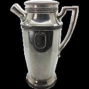 Aged Silverplate Cocktail Shaker Art Deco Style Nouveau Grape Goddess Medallion