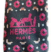Hermes 656OA - Multicolored Squares & Dots Authentic Vintage Silk Tie