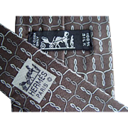 Hermes 7151FA - Twirled Ropes On Brown Authentic Vintage Silk Tie