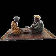 Vienna Cold Painted Bronze Depicting Arab Men Playing Dice Game Signed Namgreb - Bergman