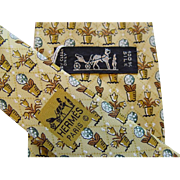 Hermes 7692OA - Yellow Flower Pots Authentic Vintage Silk Tie