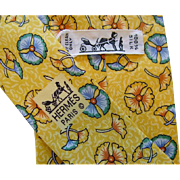 Hermes 7518IA - Floating Flowers Yellow Authentic Vintage Silk Tie
