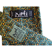 Hermes 7662TA - Dragonflies & Stars Authentic Vintage Silk Tie