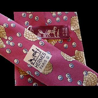 Hermes 7495IA - Seashells & Pearls Authentic Vintage Silk Tie