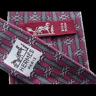 Hermes 890PA - Belts & Chains Authentic Vintage Silk Tie