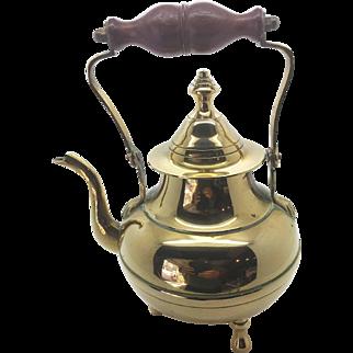 Antique Victorian Style Brass Kettle - Tripod Base - Petite Sturdy Heavy
